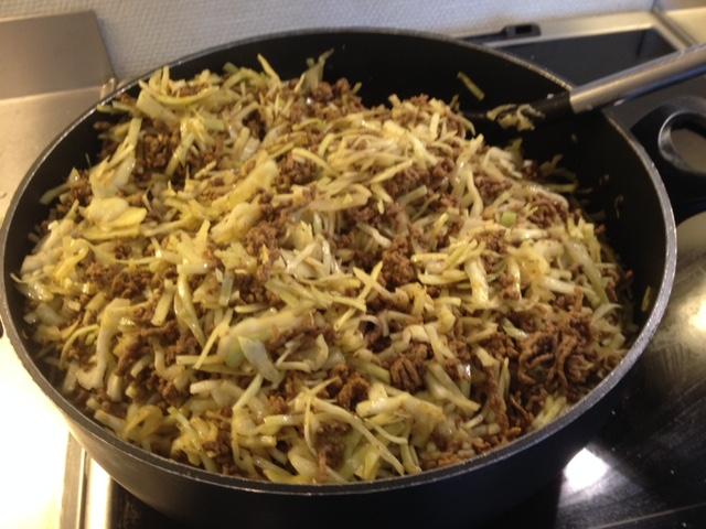 karrykål med hakket oksekød